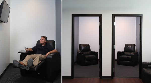 Snooze Rooms with TV and Recliner